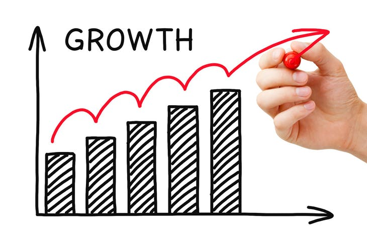Male hand sketching Growth Graph with marker on transparent wipe board.